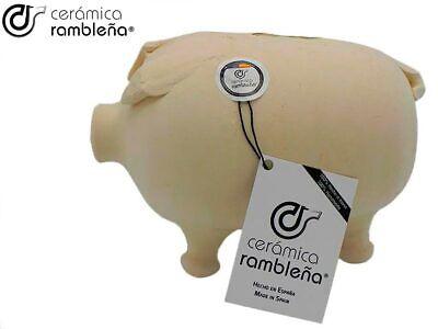 CR | Hucha Cerdito de Barro | Hucha Infantil |100% Hecho a Mano | 23x14x16 cm