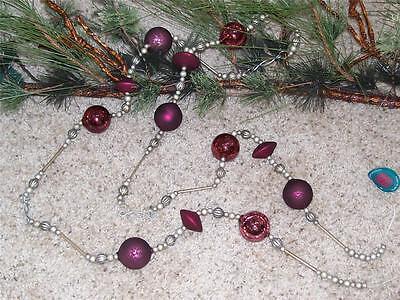 Set of 4 NWT 6' Wine PURPLE & SILVER Frost Beaker Bead Christmas GARLANDS