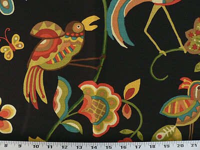 Drapery Upholstery Fabric Stain Repellant Birds on Flowers Design - Black Multi