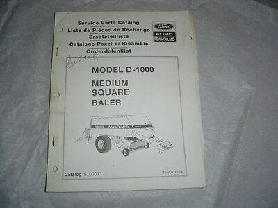 Ford New Holland D-1000 Medium Square Baler Service Parts Catalog Manual Book