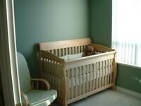 Solid Wood Convertible Crib, dresser and Glider chair Baby Room