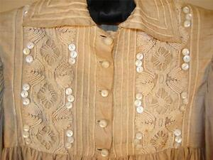 SWEET-ANTIQUE-EDWARDIAN-CHILDS-DRESS-RAW-SILK-W-MOTHER-OF-PEARL-BUTTONS