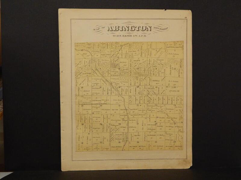 Illinois Mercer County Map Abington Township  1870   L7#24