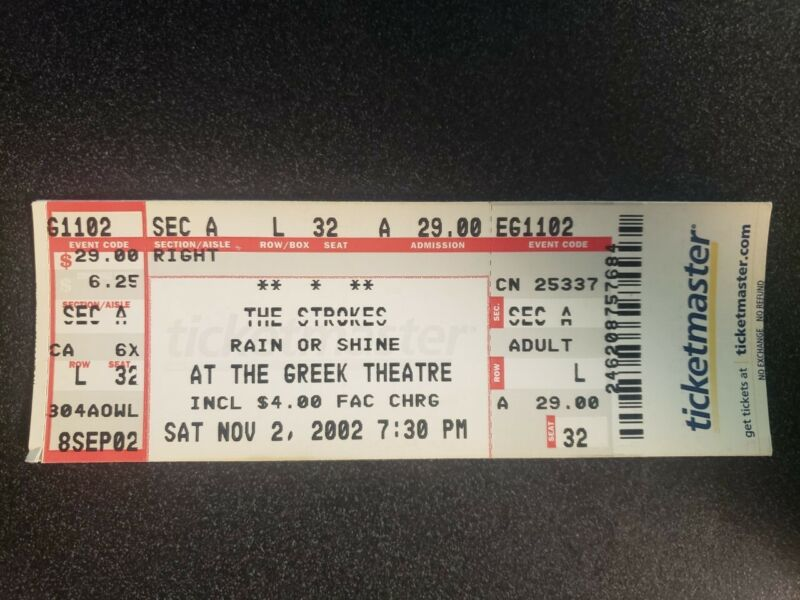 The Strokes Greek Theatre Ticket Stub 11/2/2002
