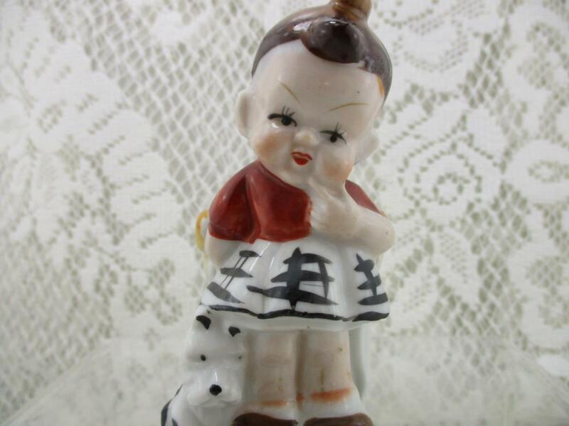 Vintage Toothpick Holder~Cute Little Girl w Puppy Dog~Occupied Japan