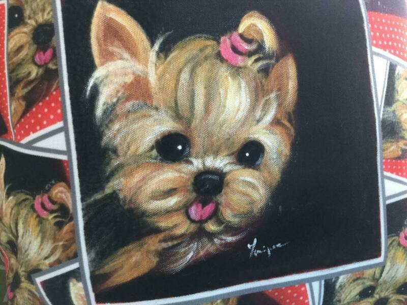 YORKIE HAND PAINTED PILLOW BEAUTIFUL ORIGINAL !