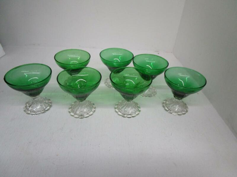 """Vintage Anchor Hocking Emerald Green Clear Bubble Foot 3 3/4"""" Dessert Glasses"""