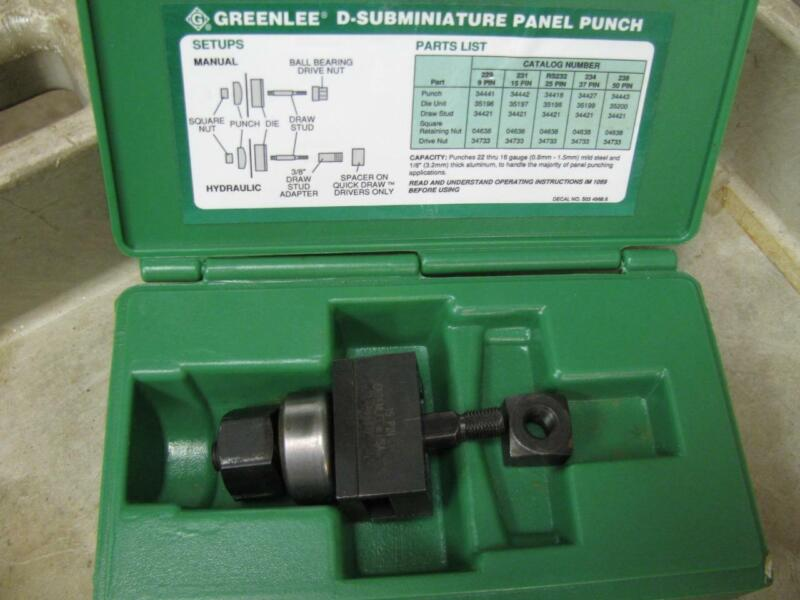 Greenlee 231 15 Pin D-Subminature Panel Punch Set