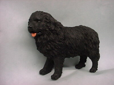 NEWFOUNDLAND dog HAND PAINTED FIGURINE Black Puppy COLLECTIBLE Resin Statue NEW