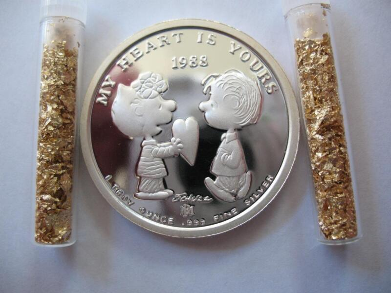 1-OZ.999 SILVER PEANUTS VALENTINES DAY #639 CHARLIE BROWN SNOOPY LUCY LINUS+GOLD