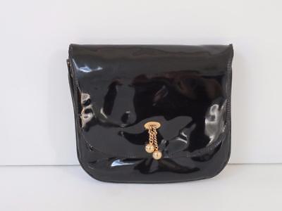 Vtg Paristyle Black Patent Leather Clutch w/ Brass Decor & Hardware Md USA 50's