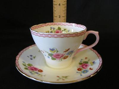 Shelley Bone China Cup & Saucer Pink Rose & Red Daisy, Pink & Gold Trim England