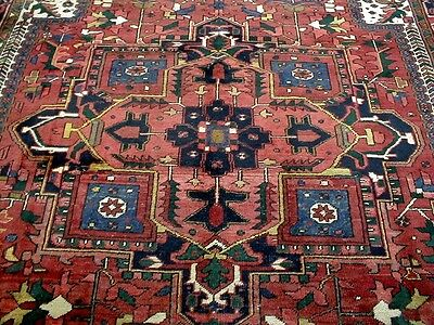 8X11 1920's MUSEUM PIECE HAND KNOTTED 90+YRS FINE ANTIQUE WOOL HERIZ PERSIAN RUG