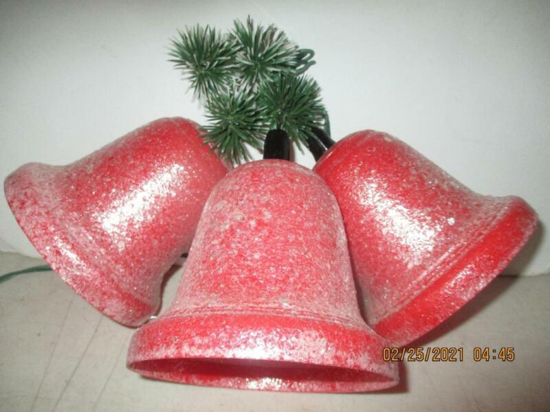 """Vtg. Set of 3 Large Red Bells Cluster Frosted Hard Plastic 5"""" x 5"""" Lighted"""