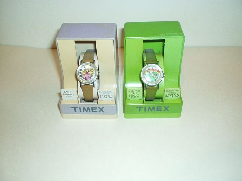 1982 Timex Miss Piggy and Kermit the Frog Muppets Wrist Watches