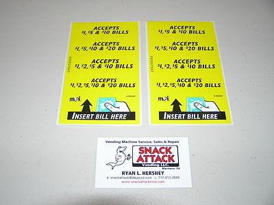 2 Mars Mei Bill Validator 4 Vfm Series Decal Stickers 1 2 5 10 20