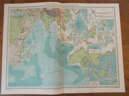 Antique c1904 Colour Map of INDIAN OCEAN Depths & Cables HARMSWORTH ATLAS