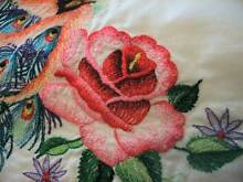 PAIR VINTAGE EMBROIDERED PINK & WHITE PEACOCK & ROSES PILLOWCASES Austral Liverpool Area Preview