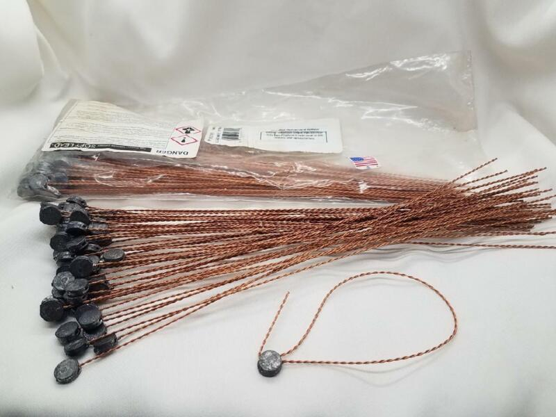 """100 Lead Seals - 7/16"""" dia  w/10"""" Copper Plated Twisted Wire Leads - 27911 USA"""