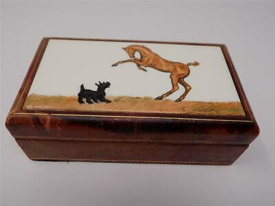 Horse Tile Box - Vintage 1940's - 50's Scotty Dog & Horse Ceramic Tile Leather Covered Wood Box