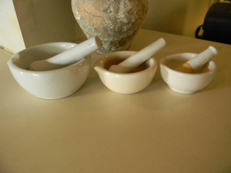 Set Of 3 Vintage Apothecary Porcelain Mortar and Pestle - Anchor and Chain Logo