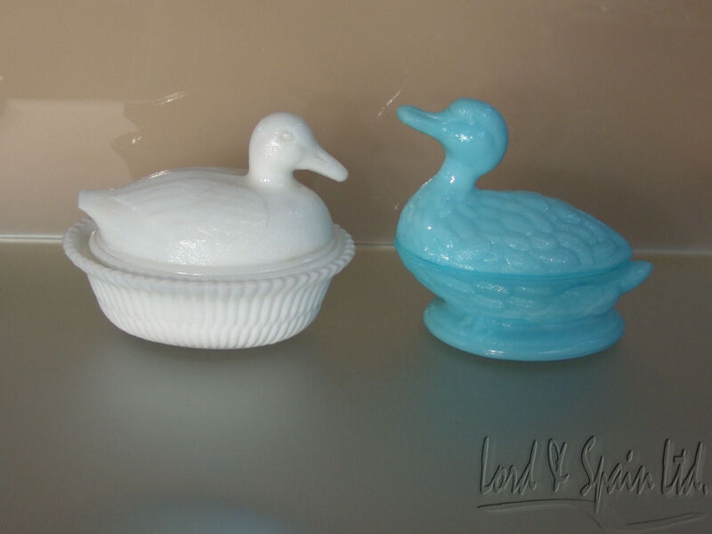 Blue Vallerysthal France Milk Glass Swimming Duck & Kemple White Duck Dishes