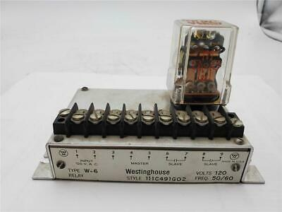 Westinghouse Relay Block W-6 111c491g02 120v With 11 Pin Relay