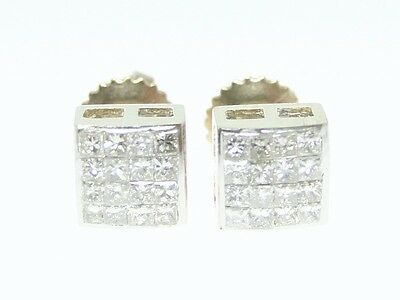 Mens Invisible Set - .55 Ct Yellow Gold Mens/Ladies Princess Cut Invisible Set Diamond Stud Earrings