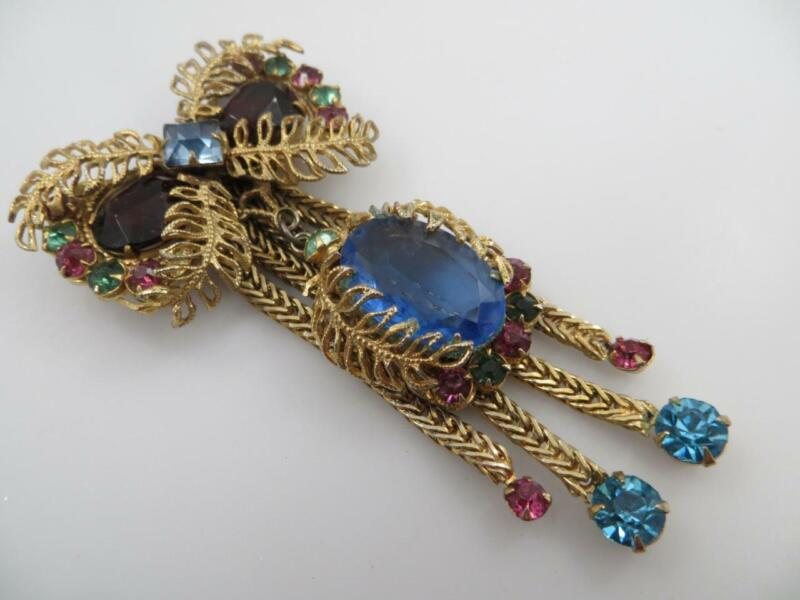 Vintage Rhinestone & Gold Tone Bow Brooch Pin Multi-Color Stones