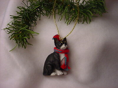 CHIHUAHUA black white dog HAND PAINTED ORNAMENT Resin Figurine puppy Christmas
