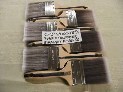 "Lot of 6 – 3"" Wooster Pro Purple Sable Synthetic Blend Straight Brushes Best"