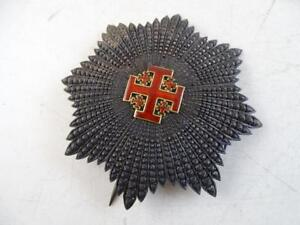 Antique 1800s Knights Templar Masonic Sterling Silver Enamel Pin Badge Vintage
