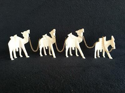 Set of 4 Camel & Donkey Train Hand Carved Miniature Small Nativity Figures Lot