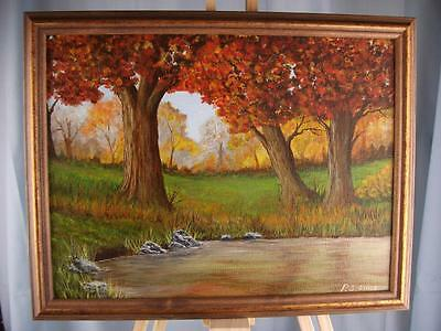 "Original acrylic painting 'Autumn Arrives' size 9"" x 12""  framed, by Phil Lynes"
