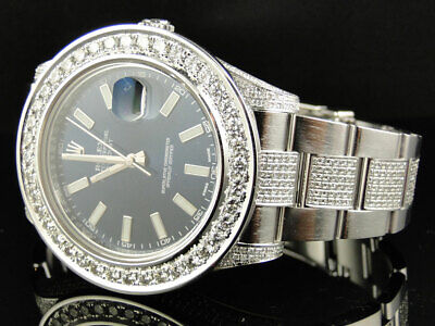 Custom Mens New 41 MM Blue Rolex Date Just II 2 With Genuine Diamonds 10 Ct