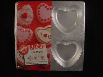 Heart Cupcake Pan - Wilton LITTLE HEARTS cupcake cake pan DESSERT metal 4 mold tin SMALL VALENTINE