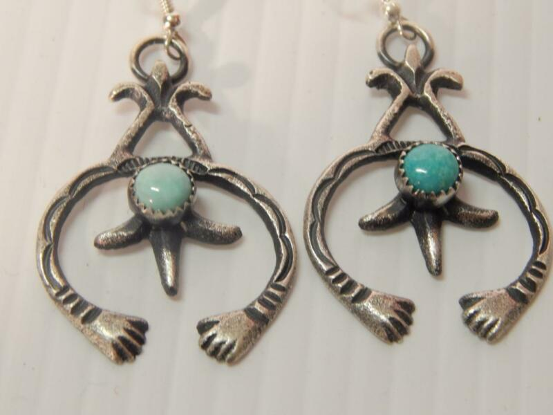EXTRA NICE TURQUOISE STERLING SILVER NAVAJO INDIAN NAJA EARRINGS - XLNT GIFT !