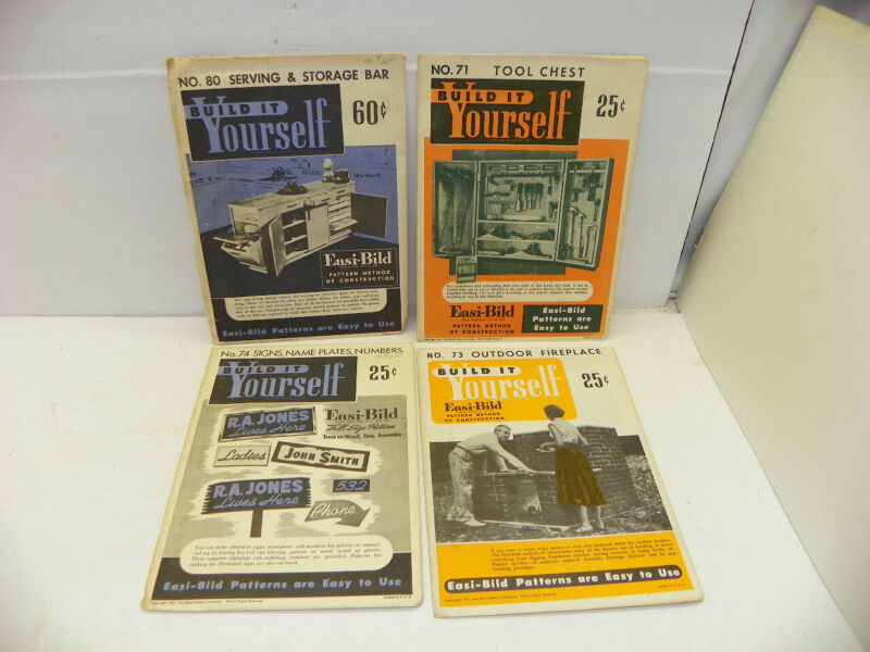 4 VINTAGE EASI - BILD BUILD IT YOURSELF INSTRUCTIONS Lot of 4 Tool Chest