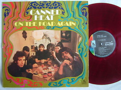 Heat Laminated Vinyl (RED VINYL / CANNED HEAT ON THE ROAD AGAIN / LAMINATED FLIP BACK COVER)