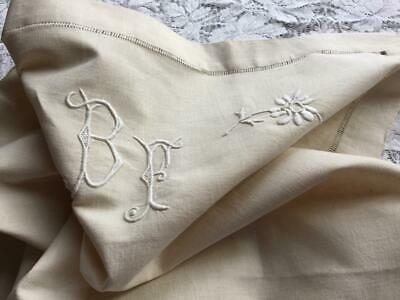UNUSED VINTAGE FRENCH PANEL MONO B F WITH DRAWNWORK EDGE GREAT FOR REWORKING