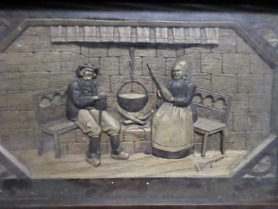 Antique Hand Carved Signed Wooden Glass Topped Tea Tray Of Traditional Couple