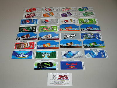 30 Coke Or Soda Vending Machine 12oz Can Vend Label Variety Pack - New