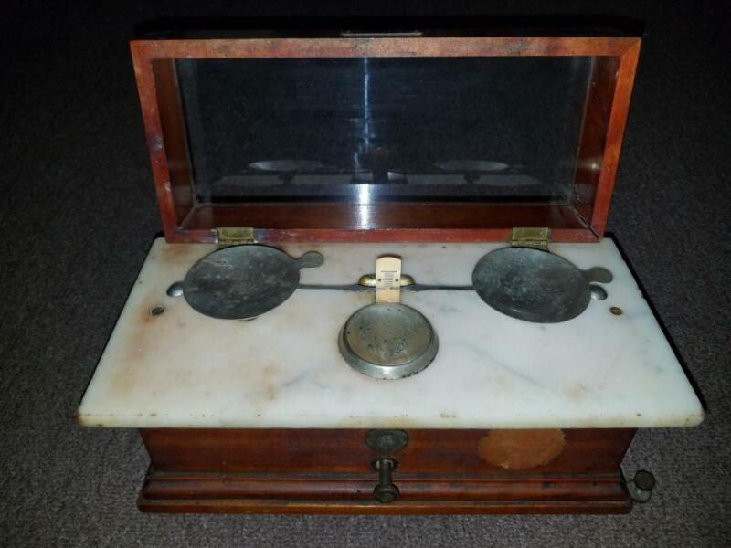 "HENRY TROEMNER APOTHECARY BALANCE SCALE PHARMACY OAK MARBLE GLASS Class ""B"""