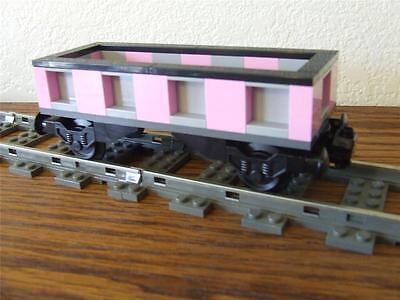 Light Pink / Gray Train Car Custom Built w/ New Lego Brick fits 9V RC Track - Pink Train Track