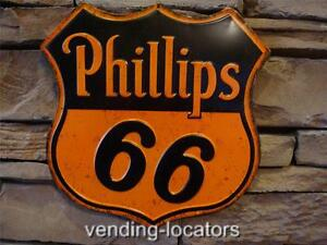 Phillips 66 Embossed Metal Sign Petroleum Motor Oil Globe