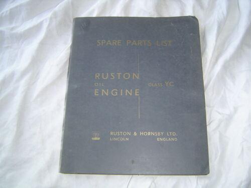 1955 Ruston & Hornsby Class YC oil engine parts list catalog manual