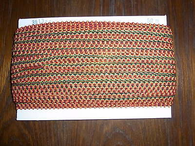 (0,34€/m) grün/rot/gelb/schwarze Borte / Litze, Höhe ca. 2cm 50m auf einer Pappe