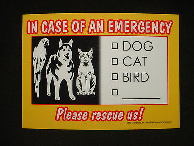 IN CASE OF AN EMERGENCY my pet SAVE RESCUE SIGN CAT BIRD DOG puppy magnet
