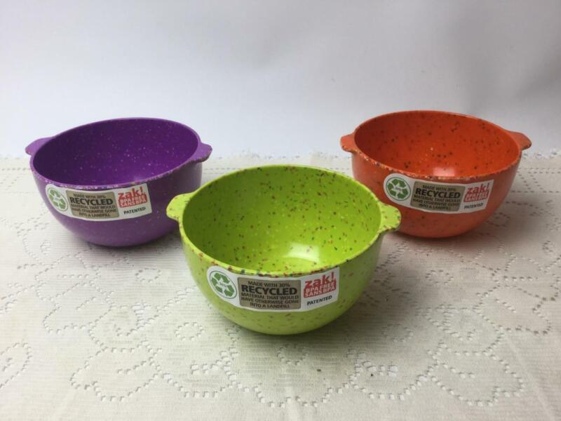 ZAK Confetti 3-piece Prep Condiment Bowl w/ Tab Handle Orange Purple Lime Green