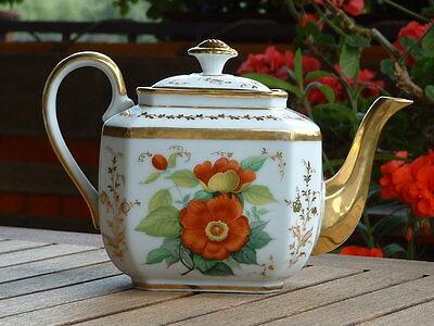 antike gr. Porzellan Kaffee- Teekanne Frankreich 19.Jh Louis Philippe handbemalt
